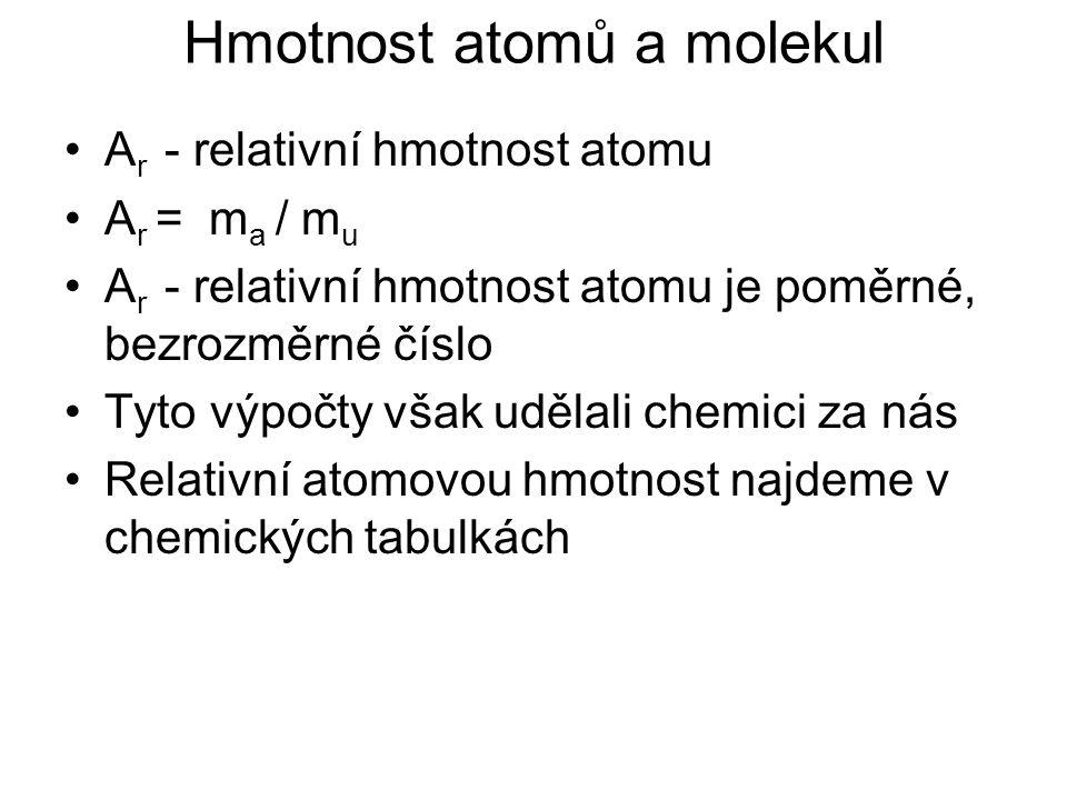 Hmotnost atomů a molekul A r - relativní hmotnost atomu A r = m a / m u A r - relativní hmotnost atomu je poměrné, bezrozměrné číslo Tyto výpočty však