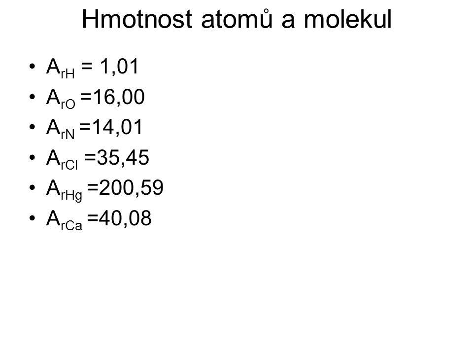 Hmotnost atomů a molekul A rH = 1,01 A rO =16,00 A rN =14,01 A rCl =35,45 A rHg =200,59 A rCa =40,08