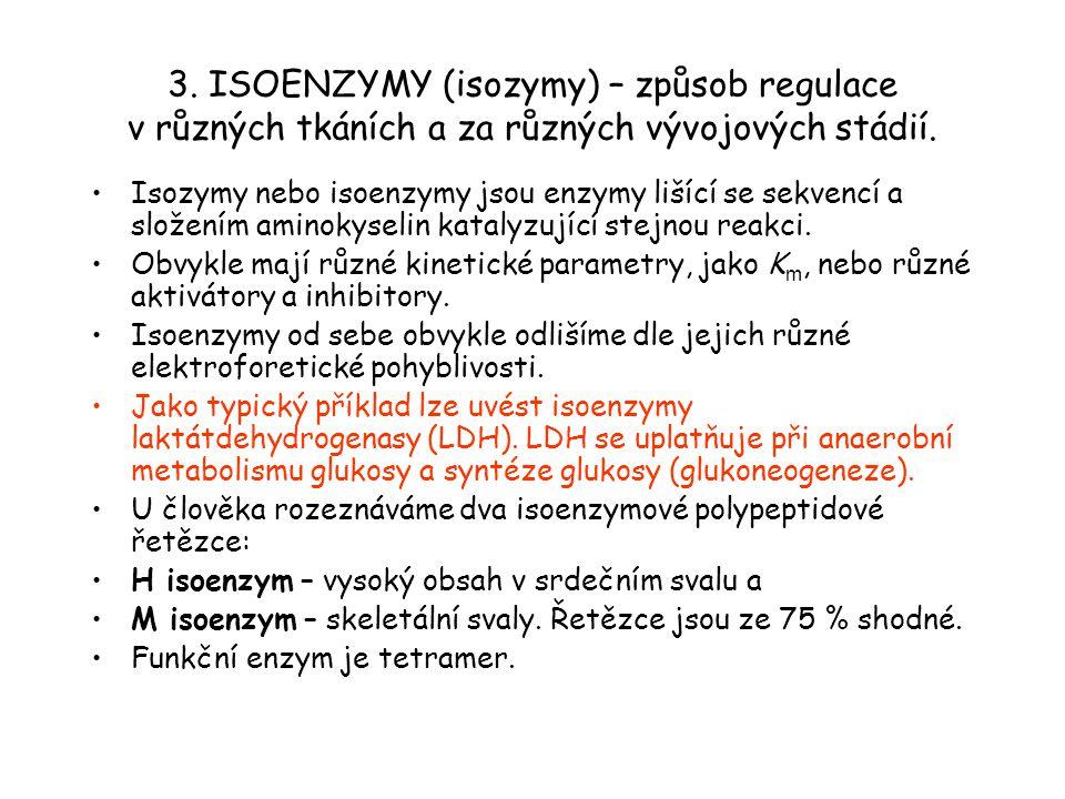 3. ISOENZYMY (isozymy) – způsob regulace v různých tkáních a za různých vývojových stádií. Isozymy nebo isoenzymy jsou enzymy lišící se sekvencí a slo