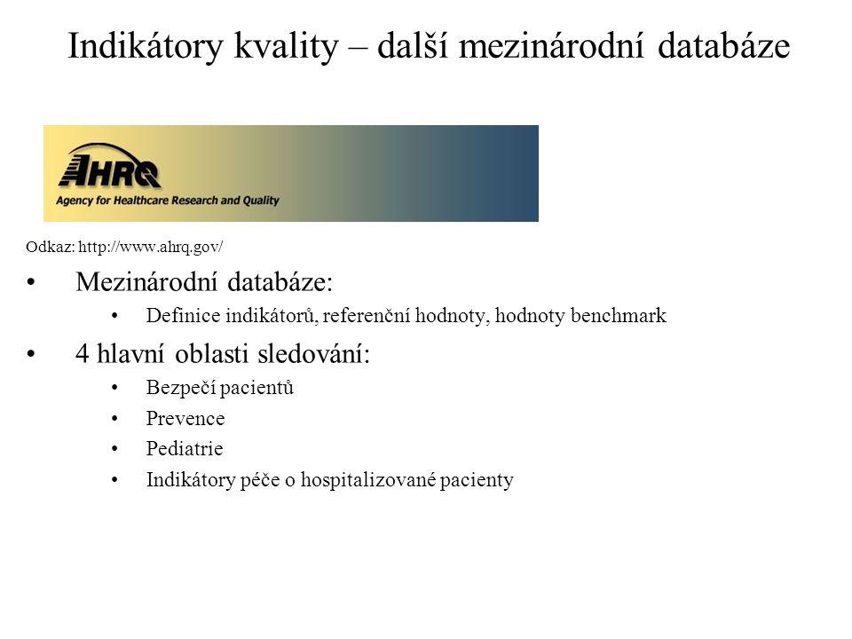 Indikátory kvality – další mezinárodní databáze Odkaz: http://www.ahrq.gov/ Mezinárodní databáze: Definice indikátorů, referenční hodnoty, hodnoty benchmark 4 hlavní oblasti sledování: Bezpečí pacientů Prevence Pediatrie Indikátory péče o hospitalizované pacienty