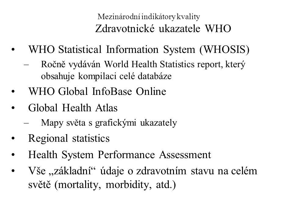 Mezinárodní indikátory kvality Zdravotnické ukazatele WHO WHO Statistical Information System (WHOSIS) –Ročně vydáván World Health Statistics report, k