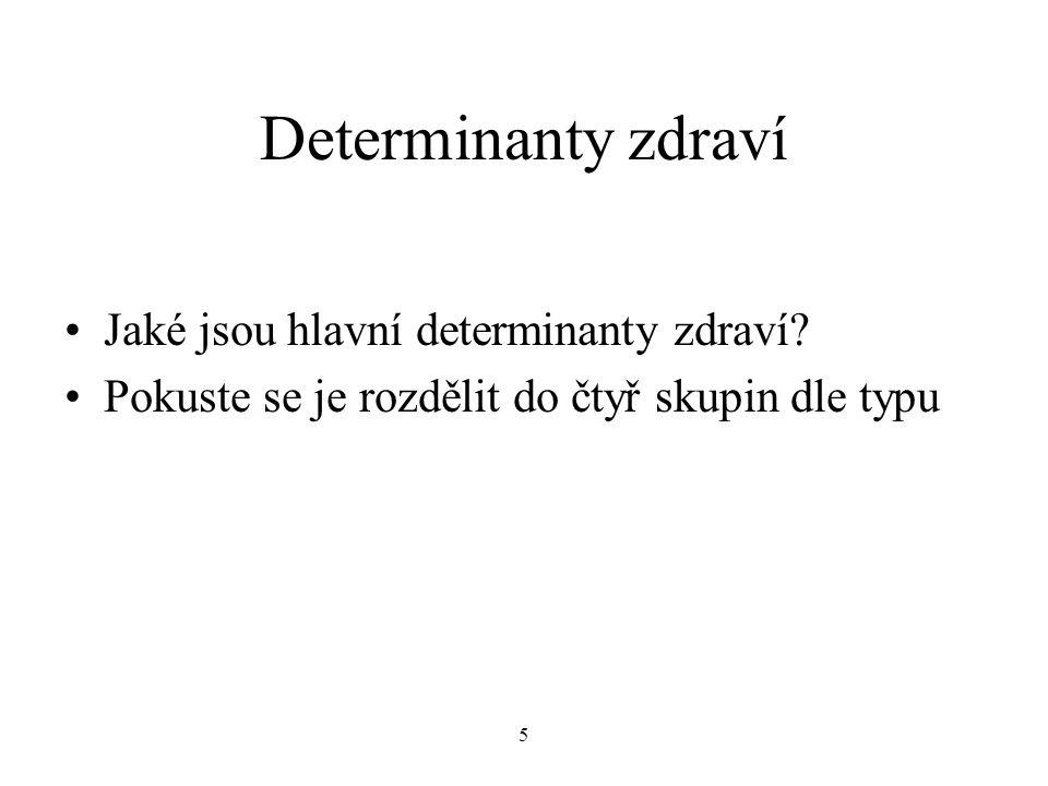 5 Determinanty zdraví Jaké jsou hlavní determinanty zdraví.