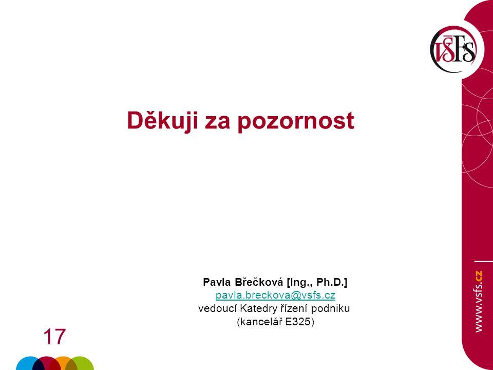 17 Děkuji za pozornost Pavla Břečková [Ing., Ph.D.] pavla.breckova@vsfs.cz vedoucí Katedry řízení podniku (kancelář E325)