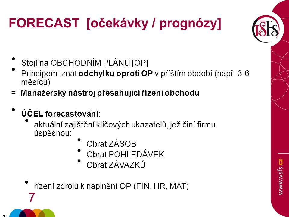 7 7 FORECAST [očekávky / prognózy] Stojí na OBCHODNÍM PLÁNU [OP] Principem: znát odchylku oproti OP v příštím období (např.