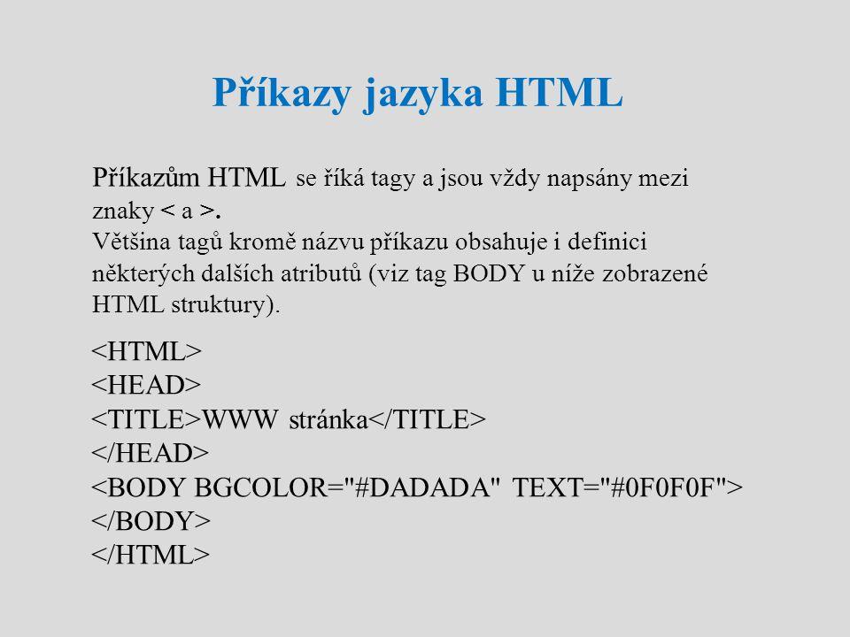 Příkazy jazyka HTML Příkazům HTML se říká tagy a jsou vždy napsány mezi znaky. Většina tagů kromě názvu příkazu obsahuje i definici některých dalších