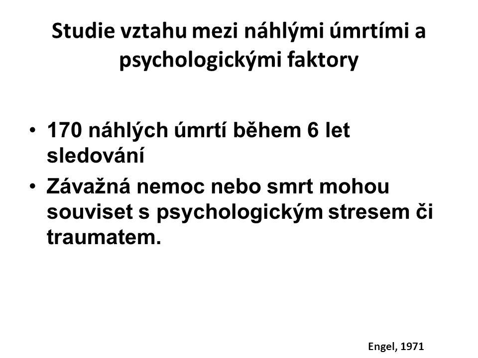 Studie vztahu mezi náhlými úmrtími a psychologickými faktory 170 náhlých úmrtí během 6 let sledování Závažná nemoc nebo smrt mohou souviset s psycholo