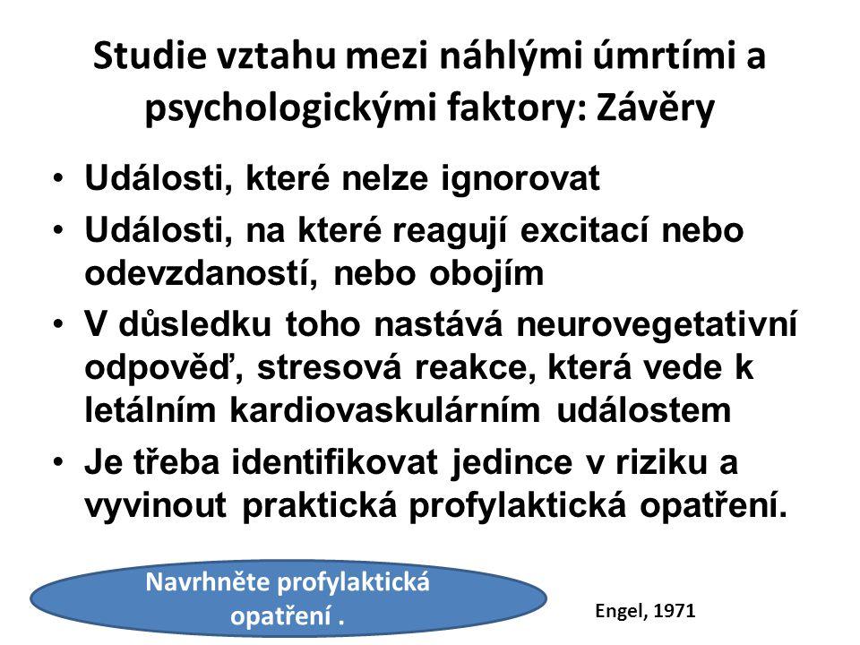 Studie vztahu mezi náhlými úmrtími a psychologickými faktory: Závěry Události, které nelze ignorovat Události, na které reagují excitací nebo odevzdan