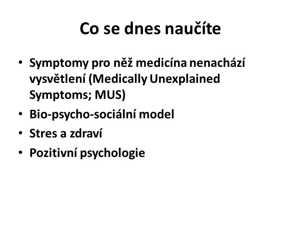 Co se dnes naučíte Symptomy pro něž medicína nenachází vysvětlení (Medically Unexplained Symptoms; MUS) Bio-psycho-sociální model Stres a zdraví Pozit