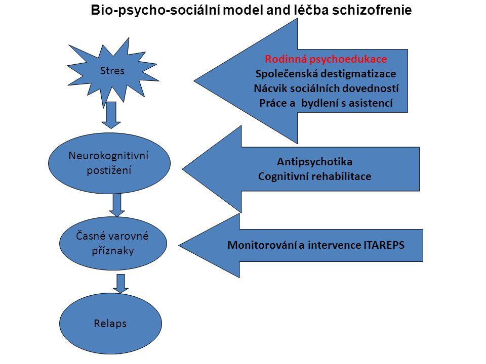 Stres Neurokognitivní postižení Časné varovné příznaky Relaps Antipsychotika Cognitivní rehabilitace Monitorování a intervence ITAREPS Rodinná psychoe