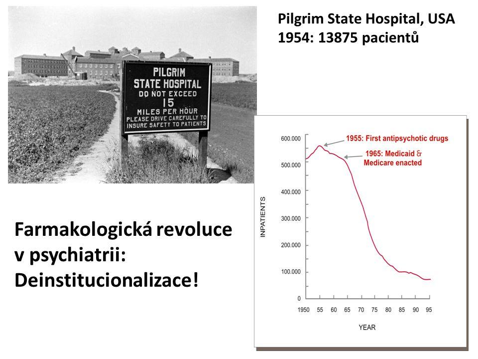 Farmakologická revoluce v psychiatrii: Deinstitucionalizace! Pilgrim State Hospital, USA 1954: 13875 pacientů