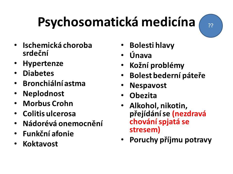 Psychosomatická medicína Ischemická choroba srdeční Hypertenze Diabetes Bronchiální astma Neplodnost Morbus Crohn Colitis ulcerosa Nádorévá onemocnění