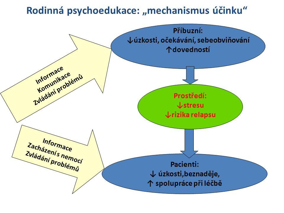 Informace Komunikace Zvládání problémů Příbuzní: ↓úzkosti, očekávání, sebeobviňování ↑dovedností Pacienti: ↓ úzkosti,beznaděje, ↑ spolupráce při léčbě