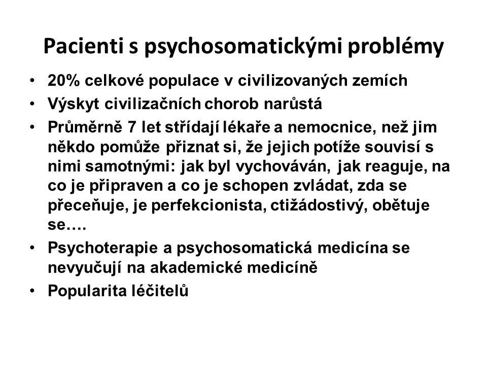 Pacienti s psychosomatickými problémy 20% celkové populace v civilizovaných zemích Výskyt civilizačních chorob narůstá Průměrně 7 let střídají lékaře