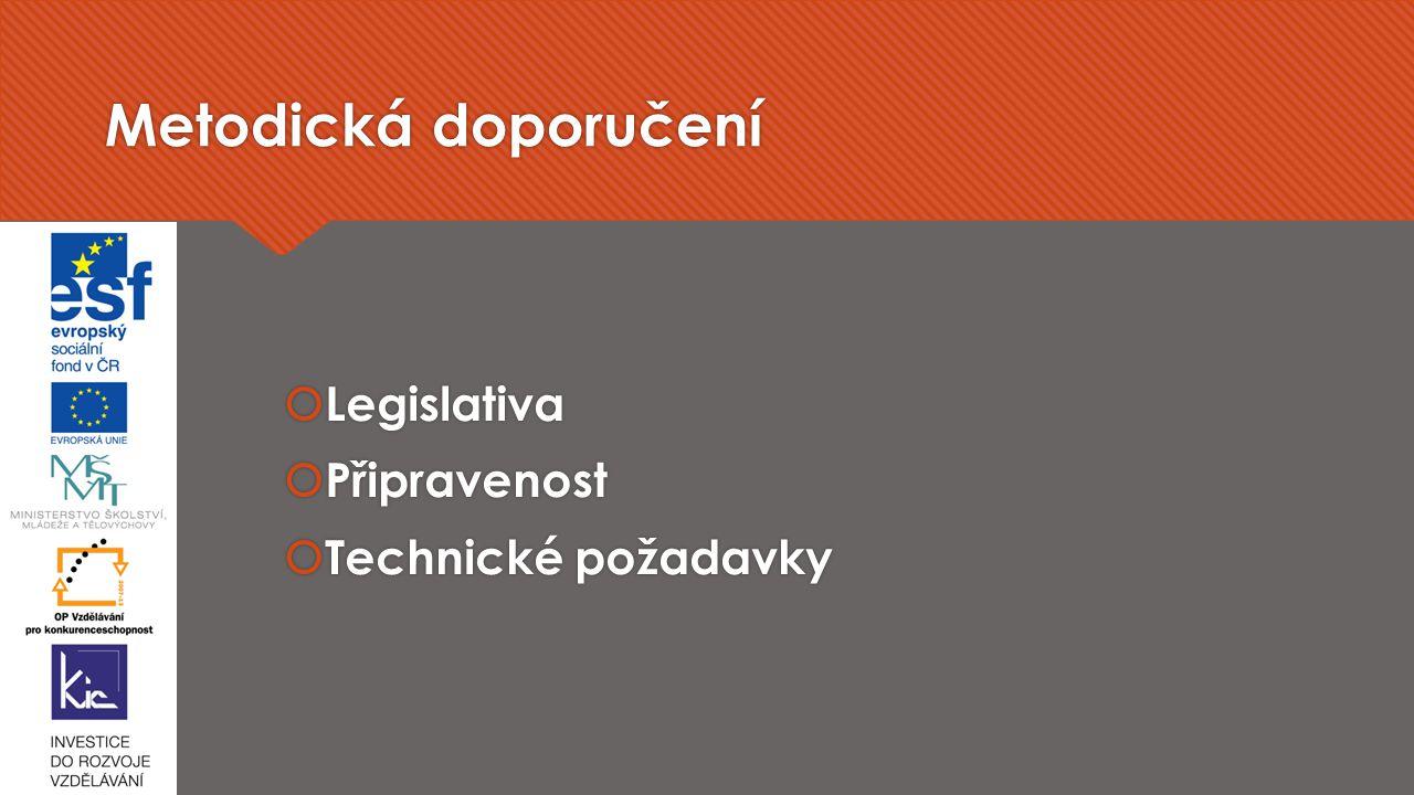 Metodická doporučení  Legislativa  Připravenost  Technické požadavky  Legislativa  Připravenost  Technické požadavky