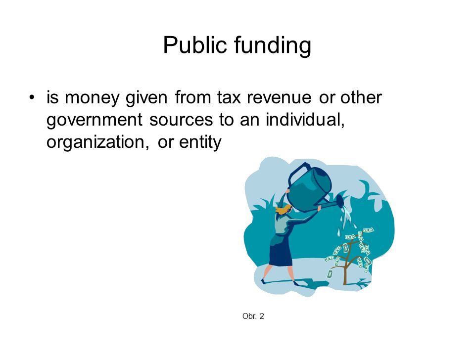 Public funding is money given from tax revenue or other government sources to an individual, organization, or entity Obr.