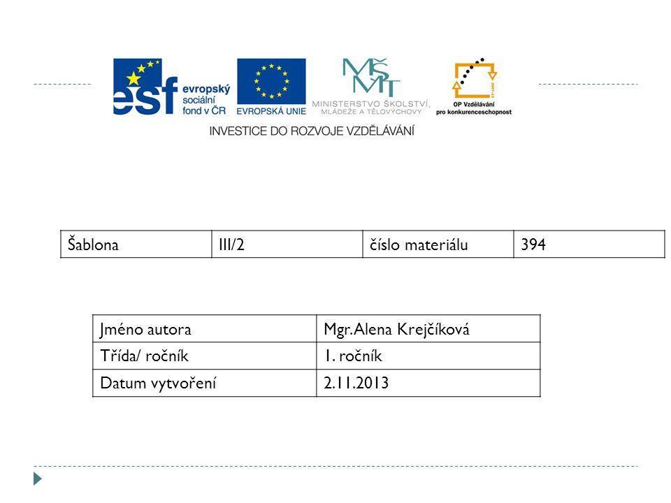 ŠablonaIII/2číslo materiálu394 Jméno autoraMgr. Alena Krejčíková Třída/ ročník1.