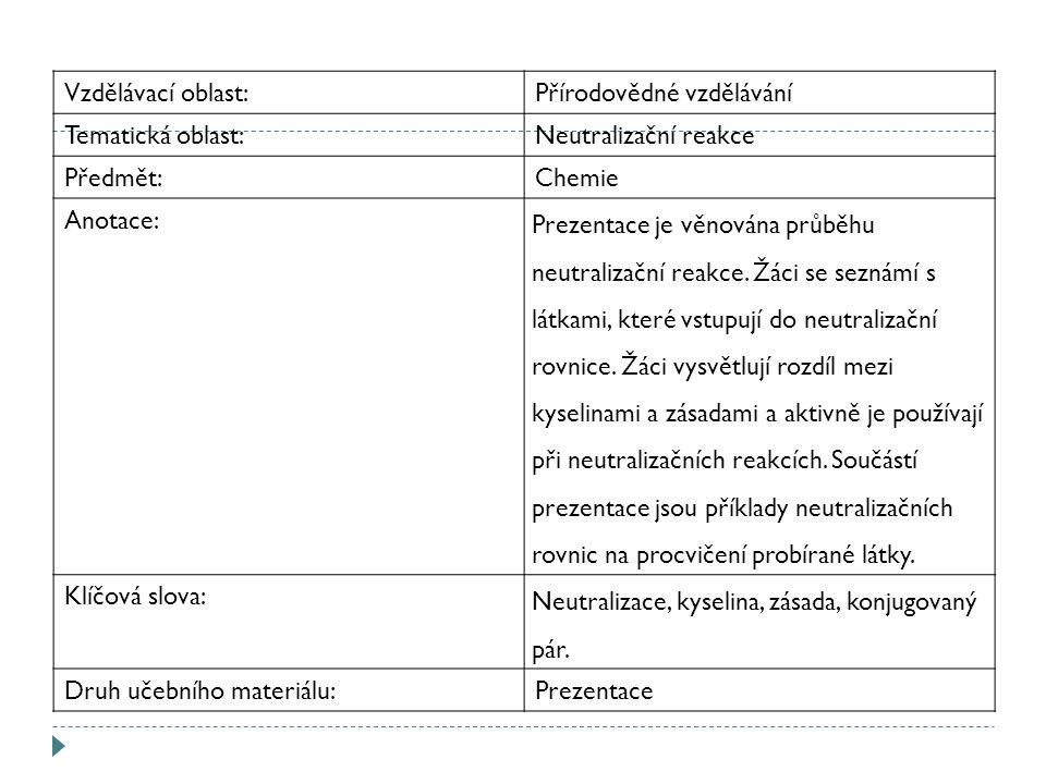 Vzdělávací oblast:Přírodovědné vzdělávání Tematická oblast:Neutralizační reakce Předmět:Chemie Anotace: Prezentace je věnována průběhu neutralizační reakce.