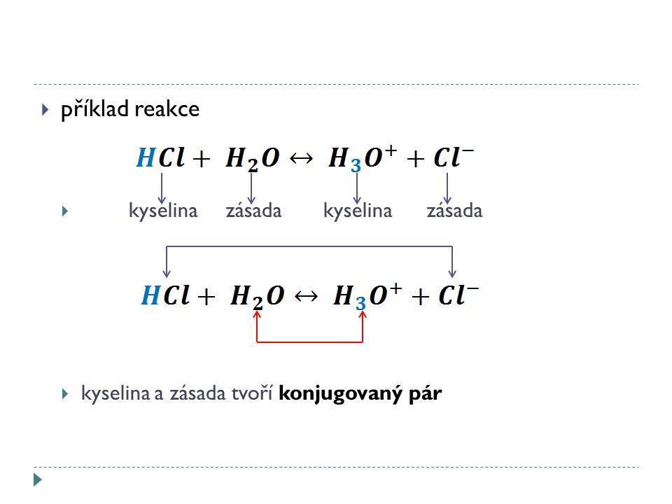  příklad reakce  kyselina zásada kyselina zásada  kyselina a zásada tvoří konjugovaný pár
