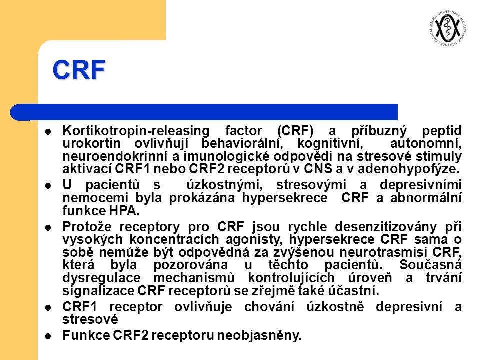 CRF Kortikotropin-releasing factor (CRF) a příbuzný peptid urokortin ovlivňují behaviorální, kognitivní, autonomní, neuroendokrinní a imunologické odp