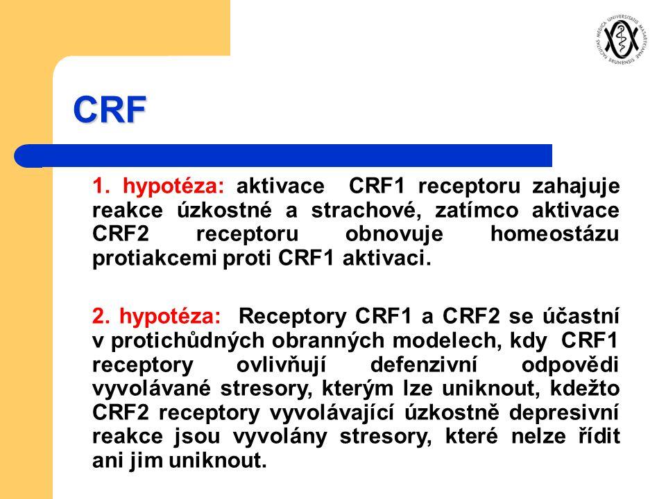 CRF 1. hypotéza: aktivace CRF1 receptoru zahajuje reakce úzkostné a strachové, zatímco aktivace CRF2 receptoru obnovuje homeostázu protiakcemi proti C