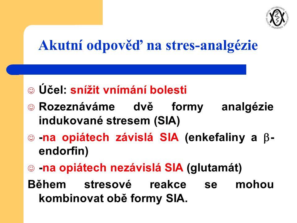 Účel: snížit vnímání bolesti Rozeznáváme dvě formy analgézie indukované stresem (SIA) -na opiátech závislá SIA (enkefaliny a  - endorfin) -na opiátec