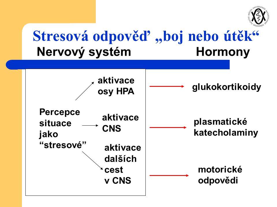 """Nervový systémHormony aktivace osy HPA Percepce situace jako """"stresové"""" aktivace CNS aktivace dalších cest v CNS glukokortikoidy plasmatické katechola"""