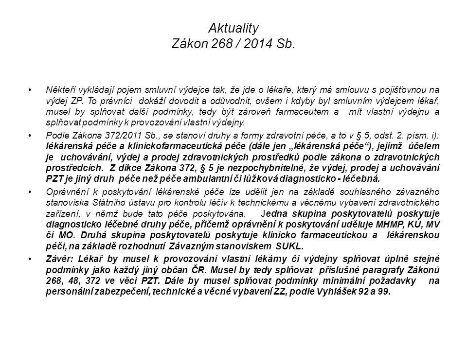 Aktuality Zákon 268 / 2014 Sb. Někteří vykládají pojem smluvní výdejce tak, že jde o lékaře, který má smlouvu s pojišťovnou na výdej ZP. To právníci d
