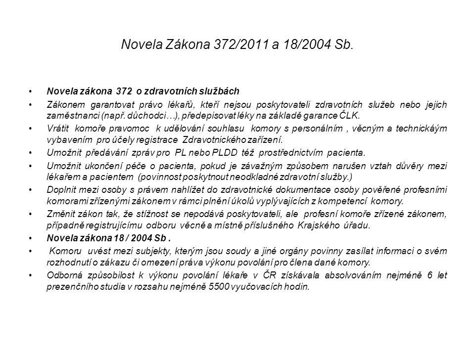 Novela Zákona 372/2011 a 18/2004 Sb. Novela zákona 372 o zdravotních službách Zákonem garantovat právo lékařů, kteří nejsou poskytovateli zdravotních