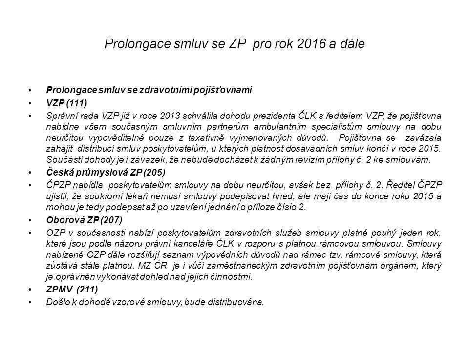 Prolongace smluv se ZP pro rok 2016 a dále Prolongace smluv se zdravotními pojišťovnami VZP (111) Správní rada VZP již v roce 2013 schválila dohodu prezidenta ČLK s ředitelem VZP, že pojišťovna nabídne všem současným smluvním partnerům ambulantním specialistům smlouvy na dobu neurčitou vypověditelné pouze z taxativně vyjmenovaných důvodů.