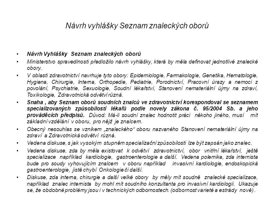 Návrh vyhlášky Seznam znaleckých oborů Návrh Vyhlášky Seznam znaleckých oborů Ministerstvo spravedlnosti předložilo návrh vyhlášky, která by měla defi