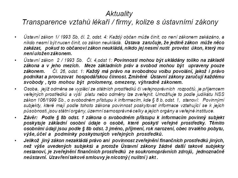 Aktuality Transparence vztahů lékaři / firmy, kolize s ústavními zákony Ústavní zákon 1/ 1993 Sb, čl.