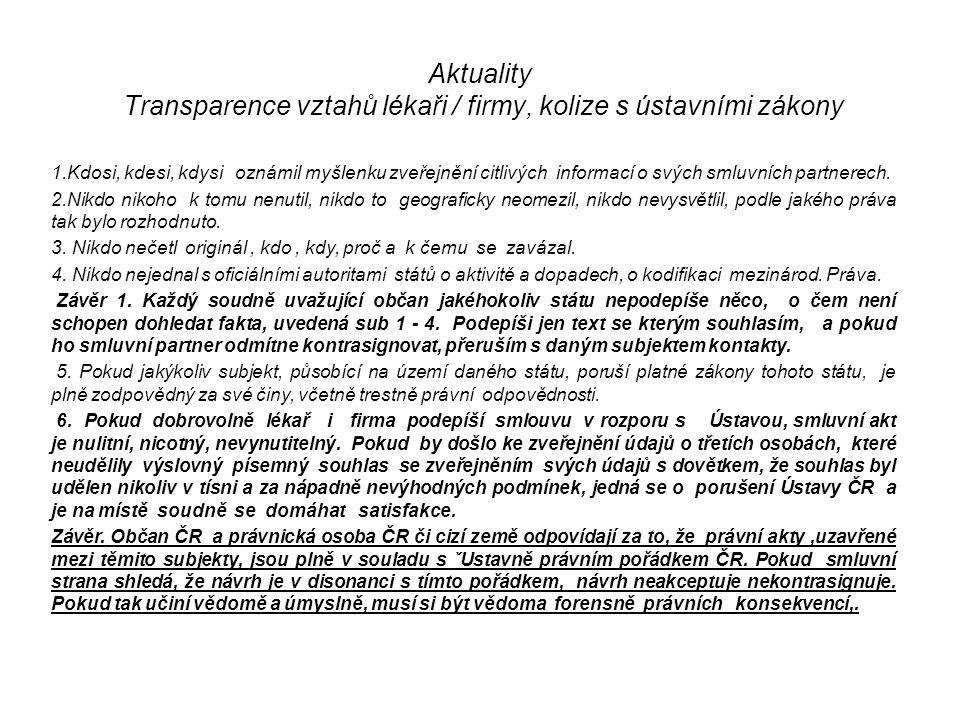 Aktuality Transparence vztahů lékaři / firmy, kolize s ústavními zákony 1.Kdosi, kdesi, kdysi oznámil myšlenku zveřejnění citlivých informací o svých