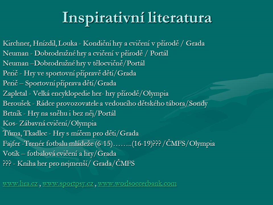 Inspirativní literatura Kirchner, Hnízdil, Louka - Kondiční hry a cvičení v přírodě / Grada Neuman - Dobrodružné hry a cvičení v přírodě / Portál Neum