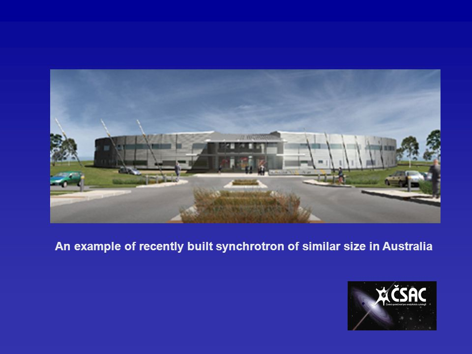 An example of recently built synchrotron of similar size in Australia