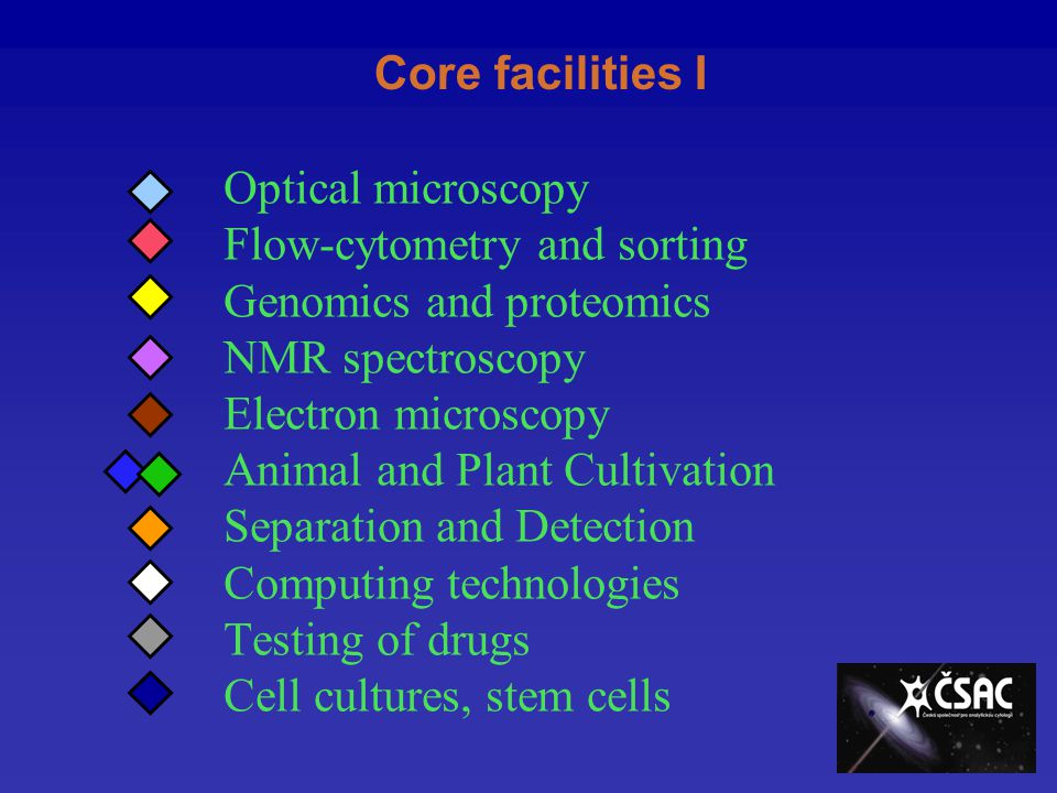 Core facilities I Optical microscopy Flow-cytometry and sorting Genomics and proteomics NMR spectroscopy Electron microscopy Animal and Plant Cultivation Separation and Detection Computing technologies Testing of drugs Cell cultures, stem cells