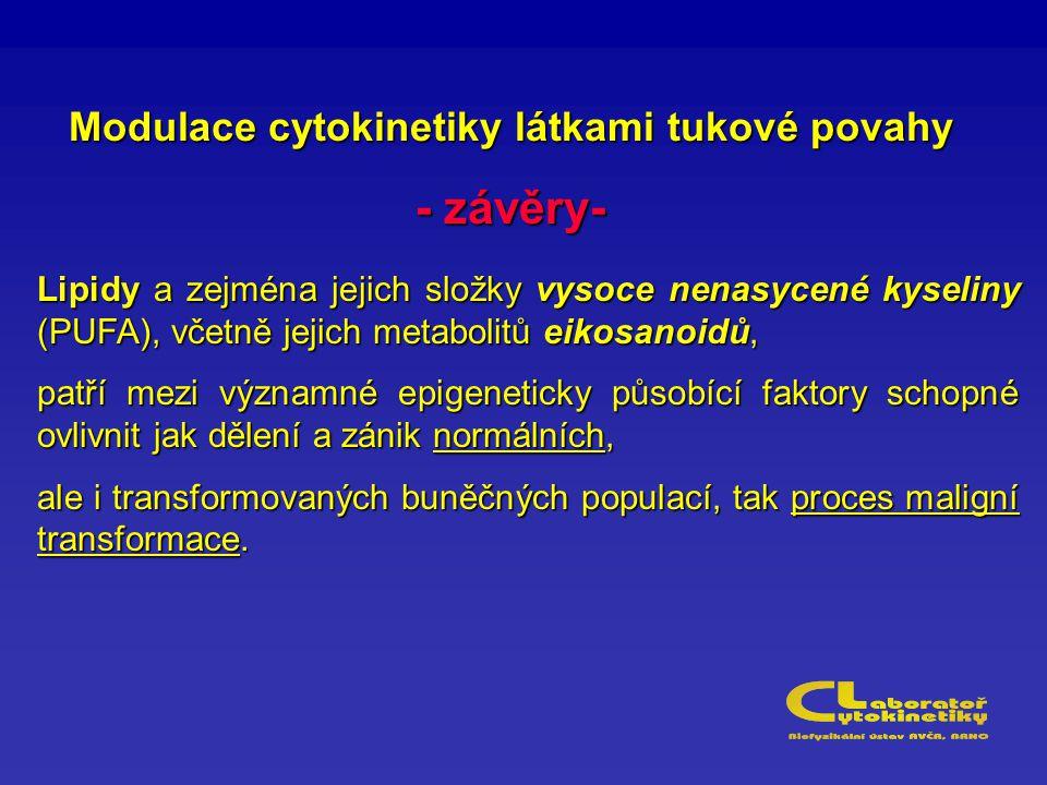 Modulace cytokinetiky látkami tukové povahy - závěry- Lipidy a zejména jejich složky vysoce nenasycené kyseliny (PUFA), včetně jejich metabolitů eikosanoidů, patří mezi významné epigeneticky působící faktory schopné ovlivnit jak dělení a zánik normálních, ale i transformovaných buněčných populací, tak proces maligní transformace.