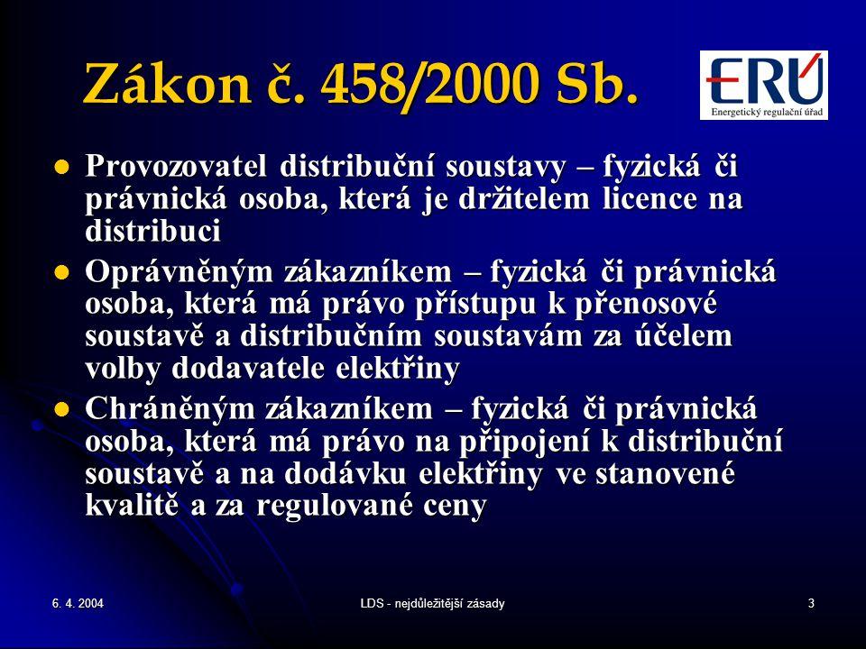 6. 4. 2004LDS - nejdůležitější zásady3 Zákon č. 458/2000 Sb. Provozovatel distribuční soustavy – fyzická či právnická osoba, která je držitelem licenc