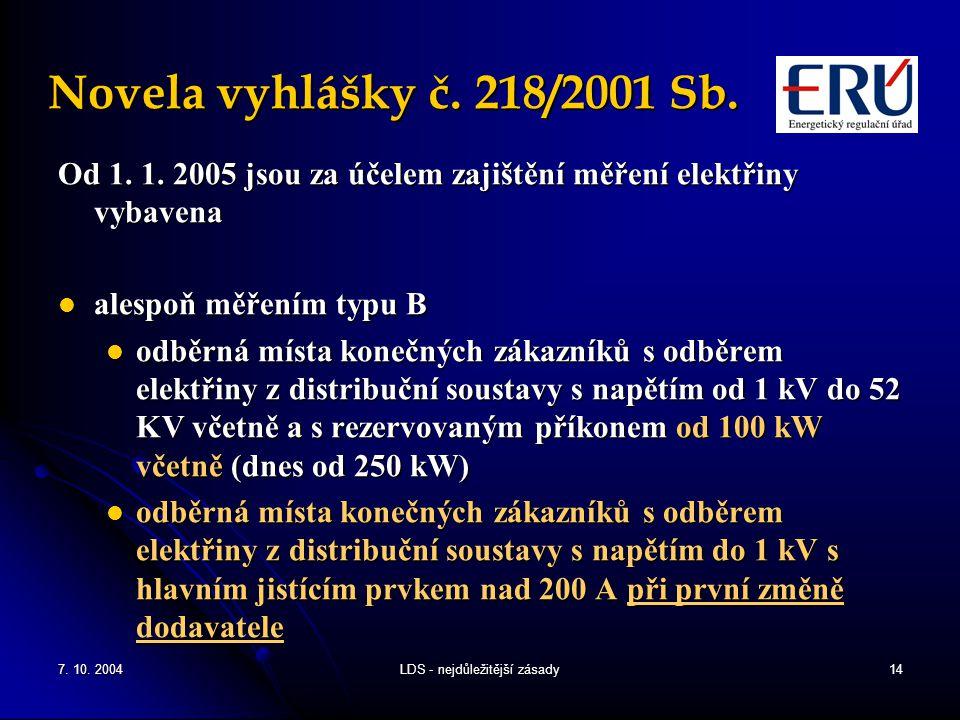 7. 10. 2004LDS - nejdůležitější zásady14 Novela vyhlášky č.