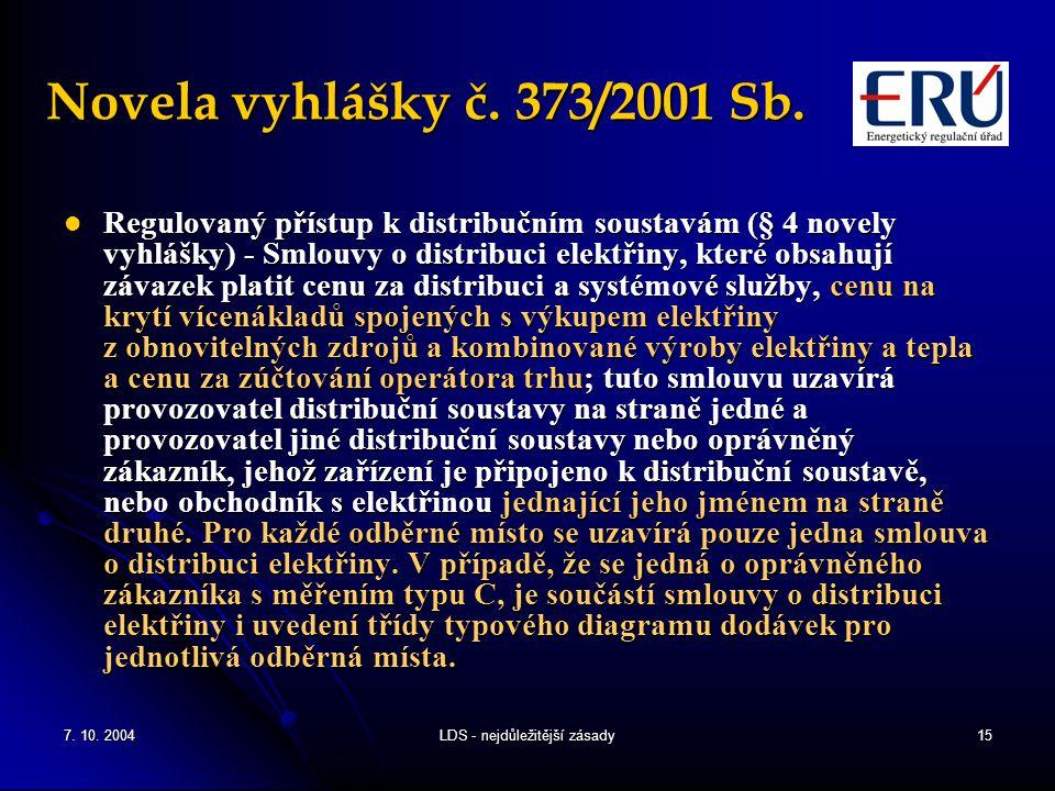 7. 10. 2004LDS - nejdůležitější zásady15 Novela vyhlášky č.