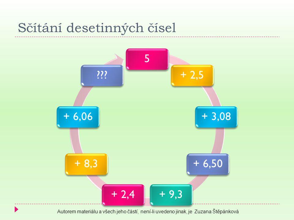 5+ 2,5+ 3,08+ 6,50+ 9,3+ 2,4+ 8,3+ 6,06??? Sčítání desetinných čísel Autorem materiálu a všech jeho částí, není-li uvedeno jinak, je Zuzana Štěpánková