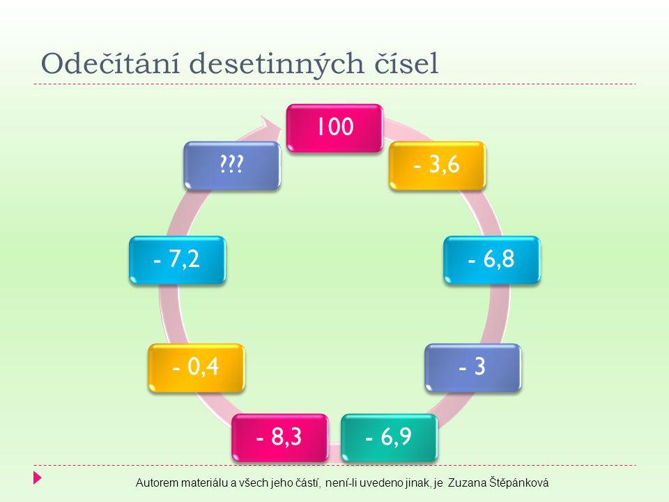 Odečítání desetinných čísel 100- 3,6- 6,8- 3- 6,9- 8,3- 0,4- 7,2 .
