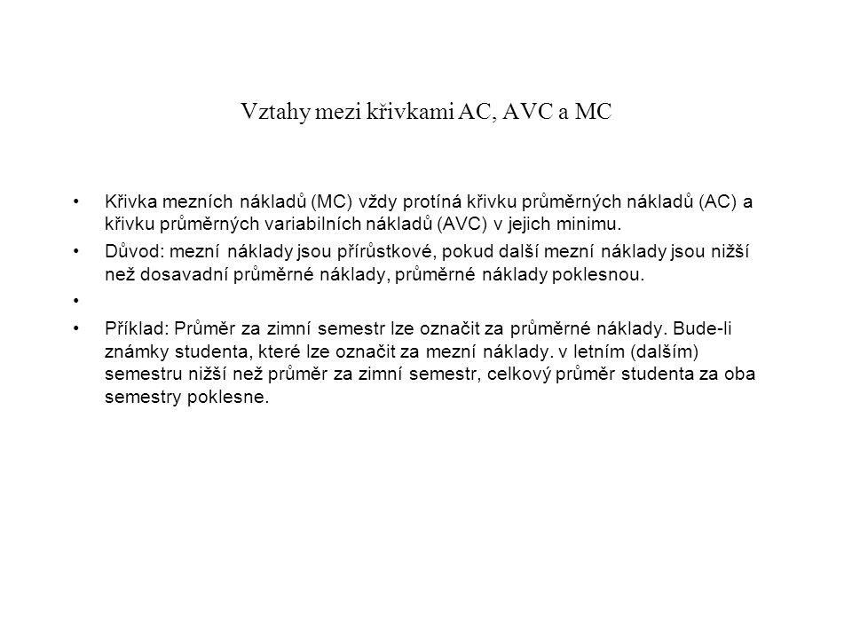 Vztahy mezi křivkami AC, AVC a MC Křivka mezních nákladů (MC) vždy protíná křivku průměrných nákladů (AC) a křivku průměrných variabilních nákladů (AV