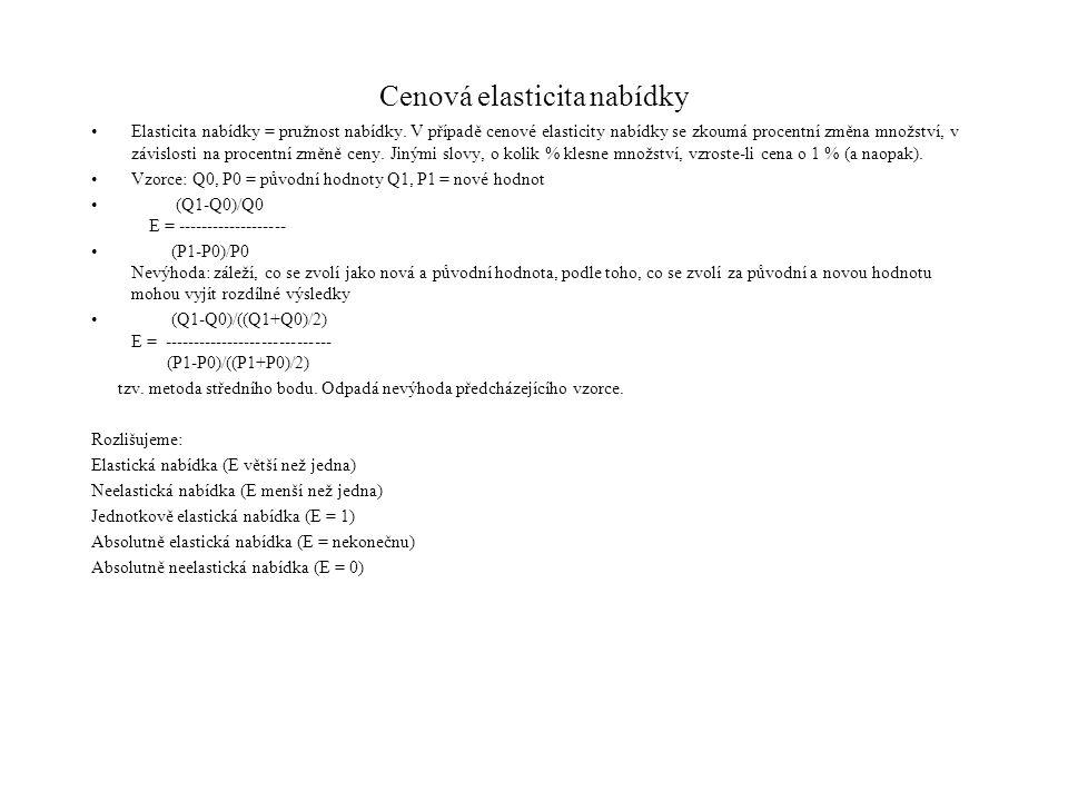 Cenová elasticita nabídky Elasticita nabídky = pružnost nabídky. V případě cenové elasticity nabídky se zkoumá procentní změna množství, v závislosti