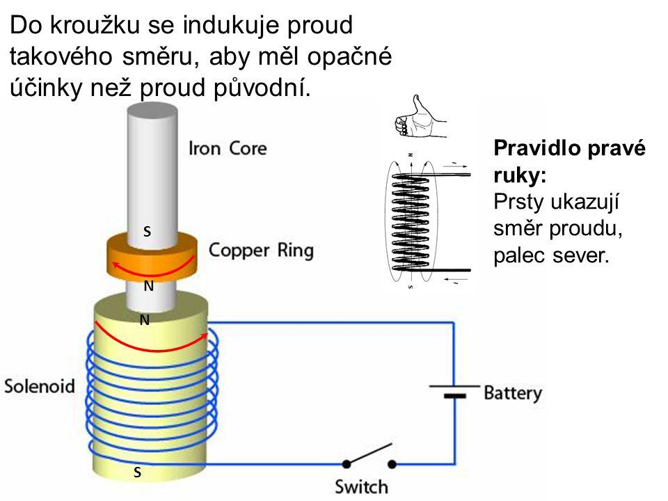 N S N S Do kroužku se indukuje proud takového směru, aby měl opačné účinky než proud původní. Pravidlo pravé ruky: Prsty ukazují směr proudu, palec se