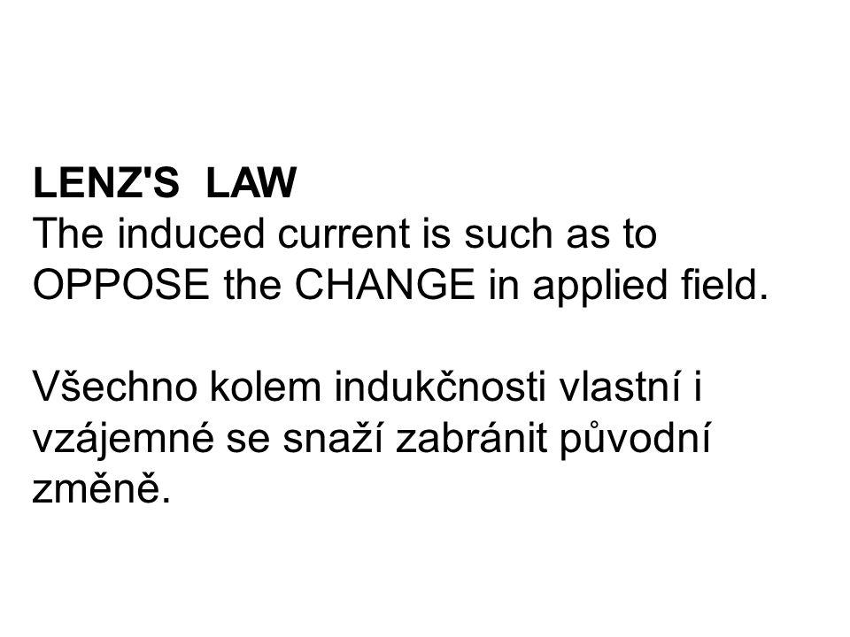 LENZ'S LAW The induced current is such as to OPPOSE the CHANGE in applied field. Všechno kolem indukčnosti vlastní i vzájemné se snaží zabránit původn