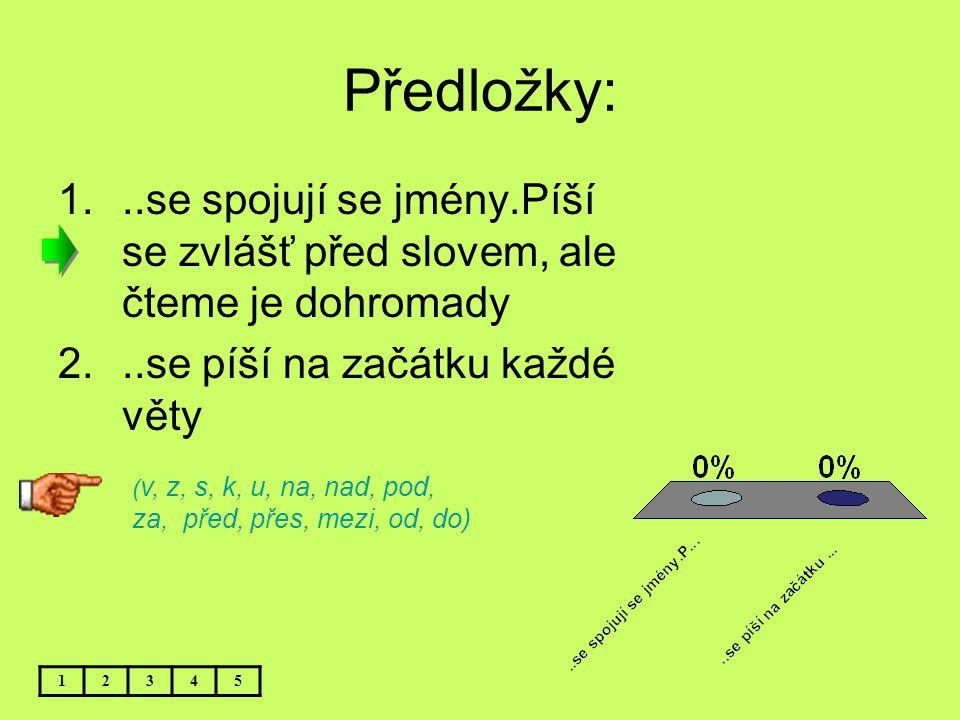 Předložky: 1...se spojují se jmény.Píší se zvlášť před slovem, ale čteme je dohromady 2...se píší na začátku každé věty 12345 ( v, z, s, k, u, na, nad