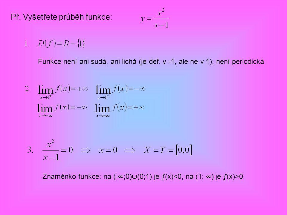 Př. Vyšetřete průběh funkce: Funkce není ani sudá, ani lichá (je def. v -1, ale ne v 1); není periodická Znaménko funkce: na (-  ;0)  (0;1) je  (x)