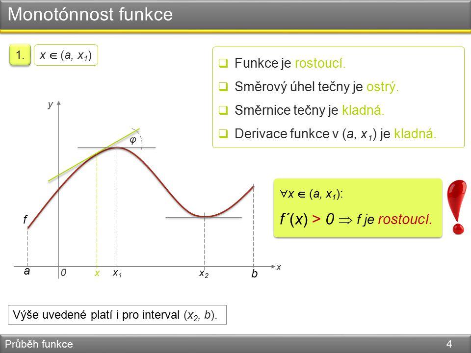 Monotónnost funkce Průběh funkce 4 0 x y f a b x2x2 x1x1 φ 1. x  (a, x 1 )  Funkce je rostoucí.  Směrový úhel tečny je ostrý.  Směrnice tečny je k