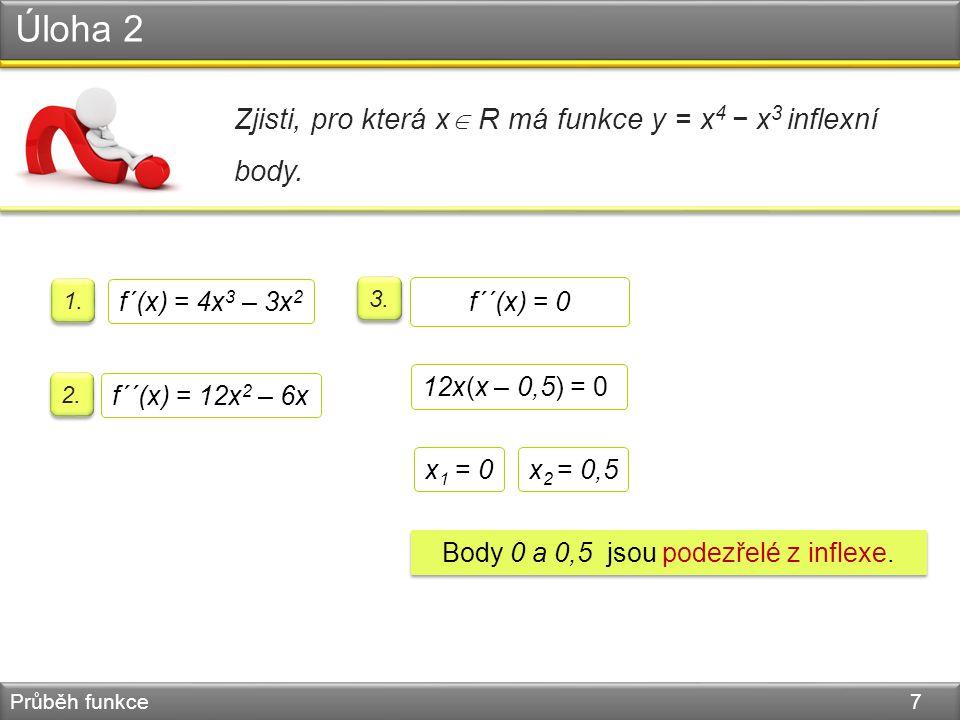 Úloha 2 Průběh funkce 7 Zjisti, pro která x  R má funkce y = x 4 − x 3 inflexní body.
