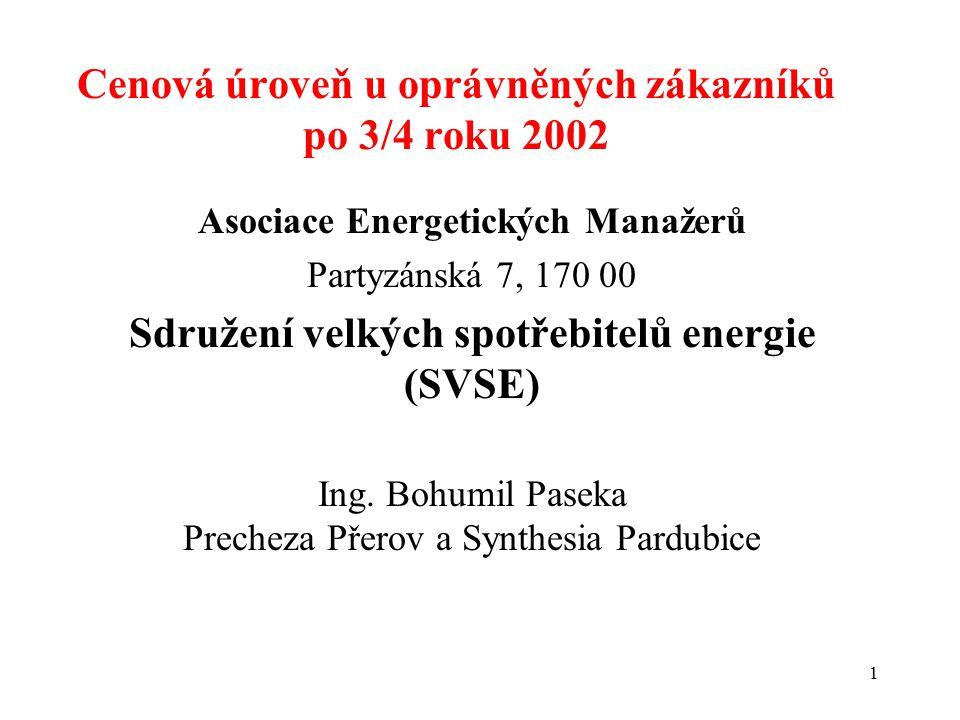 1 Cenová úroveň u oprávněných zákazníků po 3/4 roku 2002 Asociace Energetických Manažerů Partyzánská 7, 170 00 Sdružení velkých spotřebitelů energie (SVSE) Ing.
